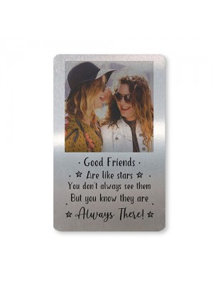 Personalised Best Friend Gift Metal Photo Card For Wallet Purse