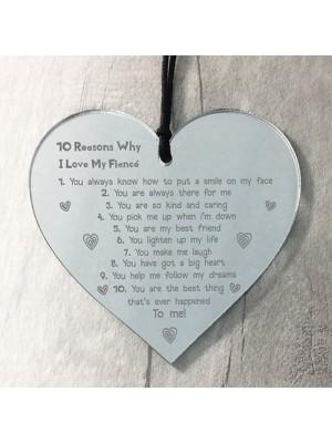 Reasons Why I Love My Fiance Heart Valentines Anniversary Gift
