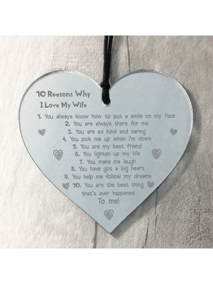 Reasons Why I Love My Wife Hanging Heart Valentines Anniversary