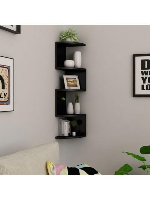3D Wall Mounted Floating Corner Shelves 5 Tier Zig Zag Shelf - B