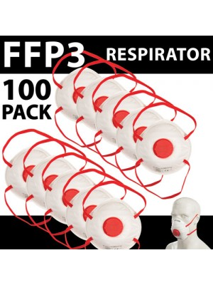 100 x FFP3 Mask Dust Face Masks Valved Asbestos Respirator