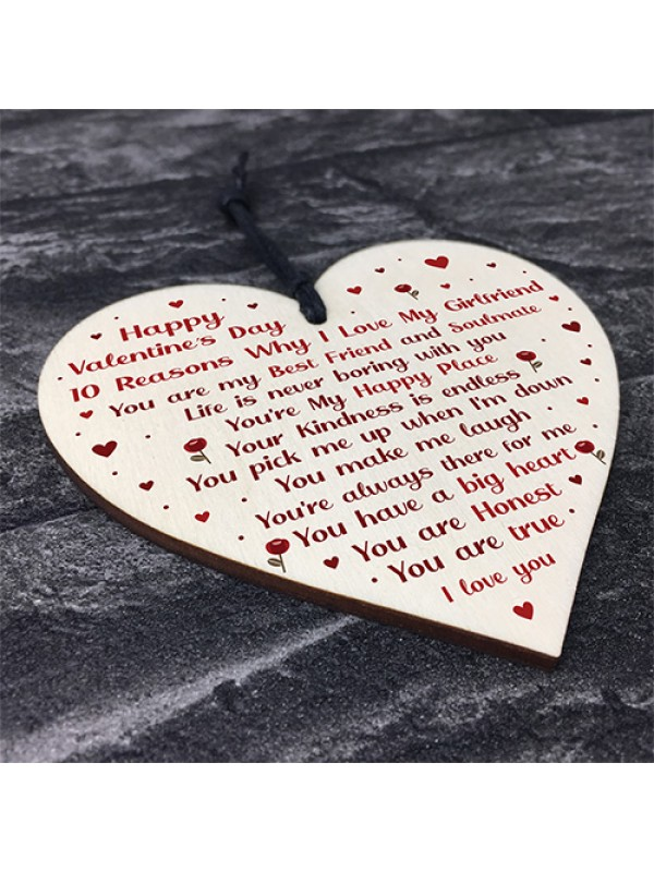 Novelty Valentines Gift For Girlfriend Wood Heart Gift For Her