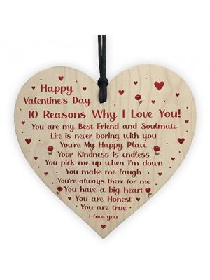 Novelty Valentines Gift For Boyfriend Husband Wife Wood Heart