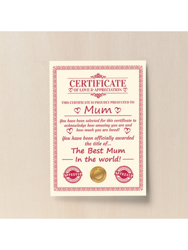 Personalised Gift For Mum Card Mothers Day Gift For Her