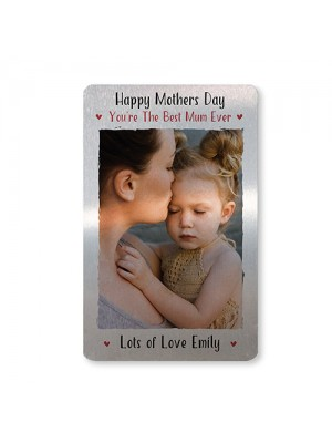 Mothers Day Gift For Mum PERSONALISED Metal Photo Card For Purse