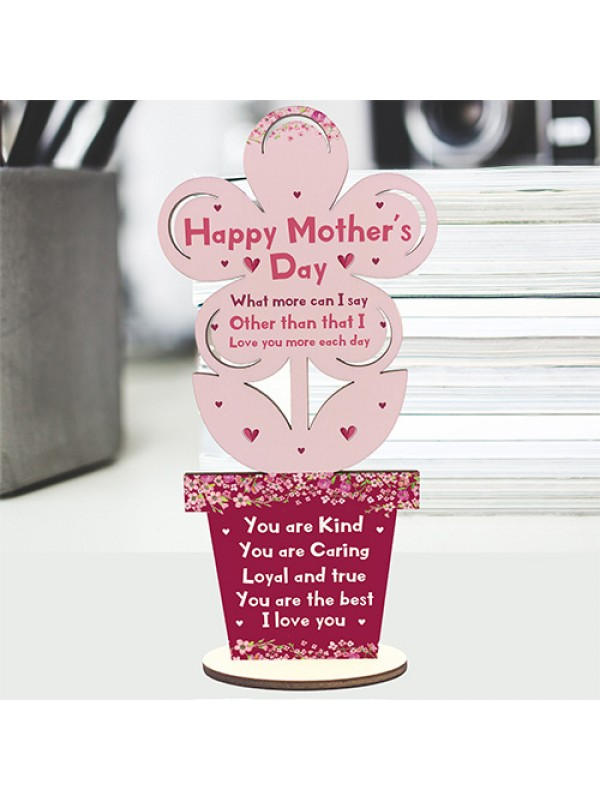 Happy Mothers Day Gift Wooden Flower Mum Gift From Daughter Son