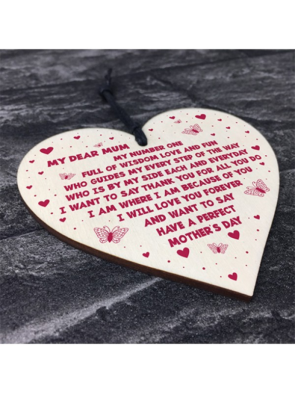Novelty Mothers Day Gifts For Mum Wooden Heart Keepsake Gift