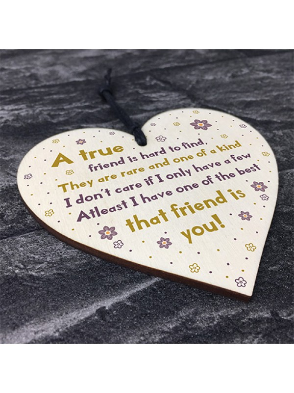 Gift For Best Friend Wooden Heart Friendship Sign Thank You Gift