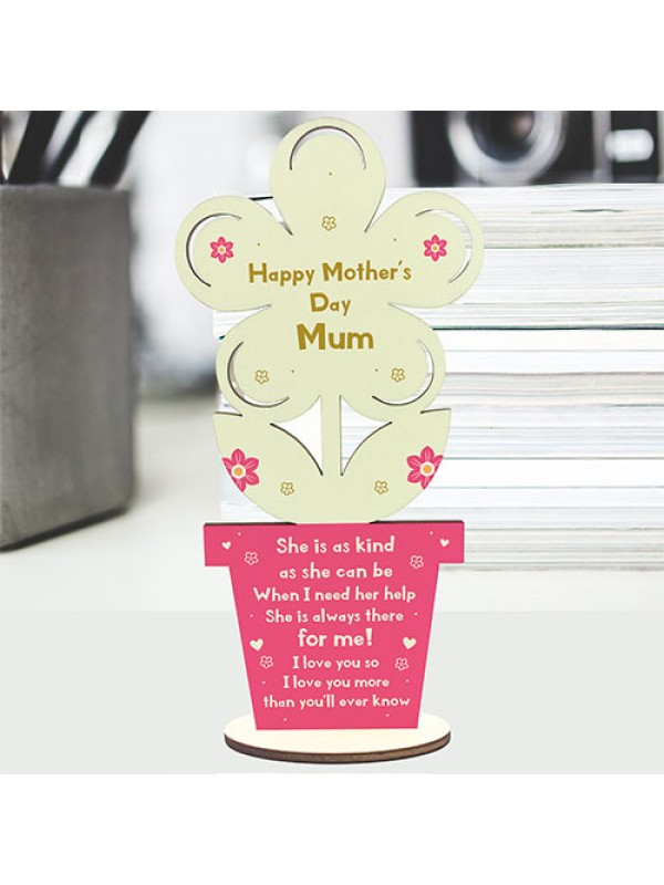 Mum Mummy Gift From Son Daughter Wooden Flower Mothers Day Gift