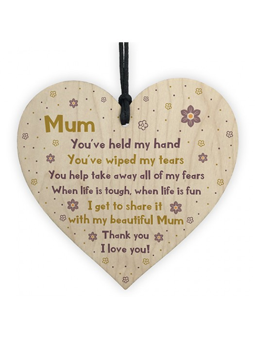 Mum Gift For Mothers Day Birthday Wood Heart Gift From Daughter