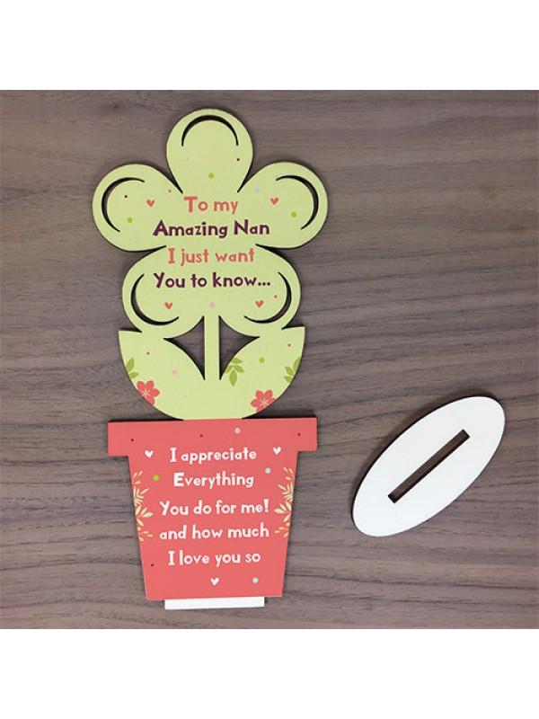 Gift For Nan Handmade Wood Flower Bespoke Gift For Mothers Day