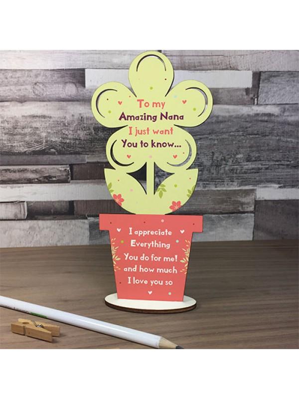 Gift For Nana Handmade Wooden Flower Bespoke Mothers Day Gift