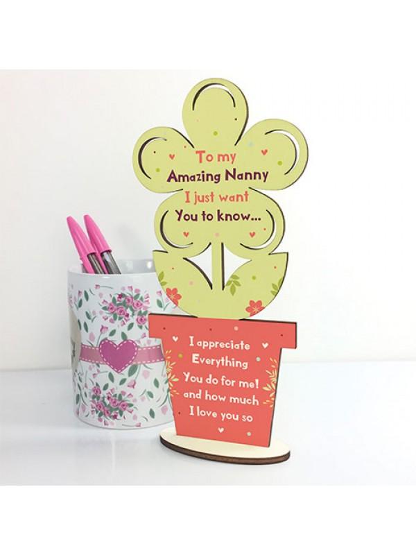 Gift For Nanny Handmade Wood Flower Bespoke Mothers Day Gift