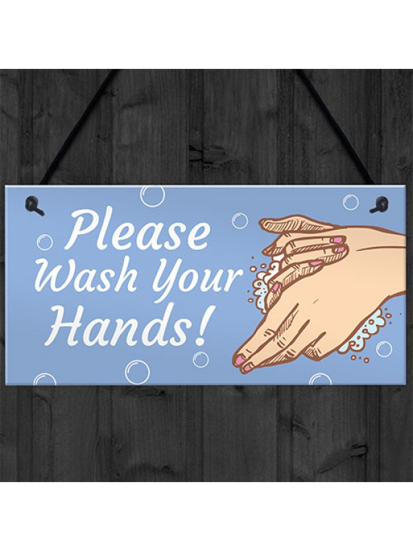 Please Wash Your Hands Sign For Bathroom Toilet Warning Sign