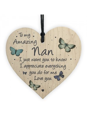 Nan Gift For Birthday Christmas Wood Heart Gift For Her Thankyou