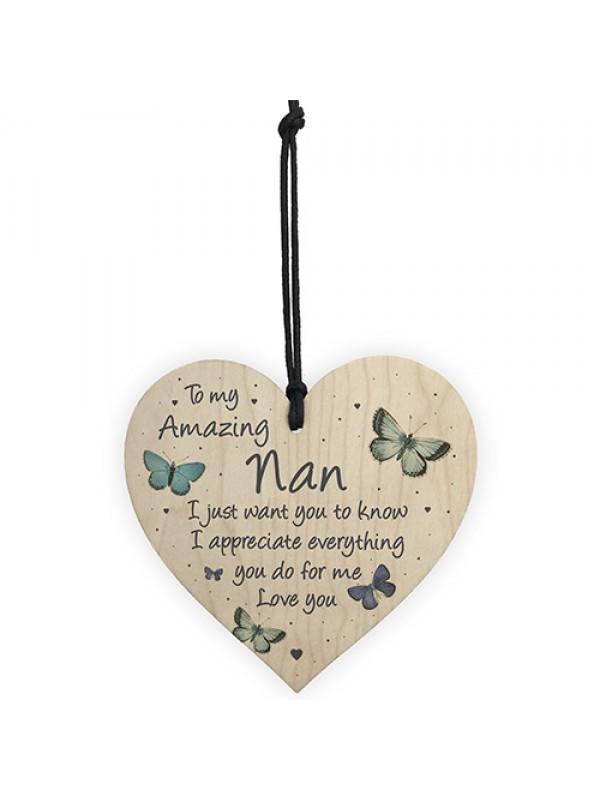 Nan Gift For Birthday Christmas Wood Heart Gift For Her Thankyou