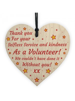 Thank You Gift For Volunteer Wooden Heart Friendship Gift