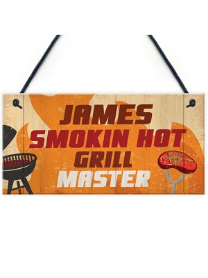 Personalised BBQ Barbecue Hanging Funny Garden Sign Gift For Him