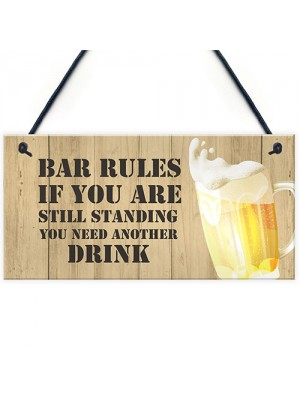 Novelty BAR RULES Sign Funny Home Bar Sign Man Cave Gifts