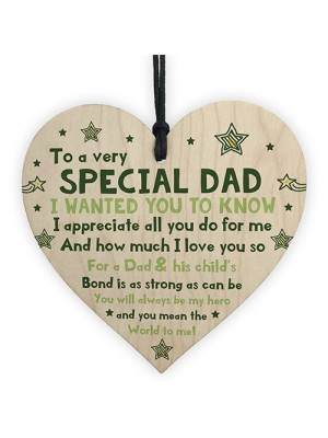 Novelty Gift For Dad Wooden Hanging Heart Gift For Fathers Day