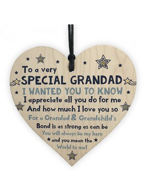 Thank You Gifts For Grandad Wood Heart Grandad Fathers Day