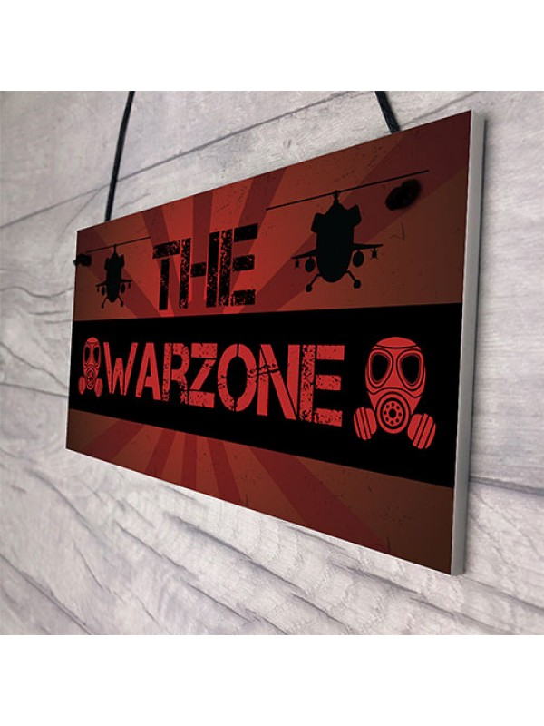 THE WARZONE Boys Gaming Bedroom Man Cave Sign Gift For Him