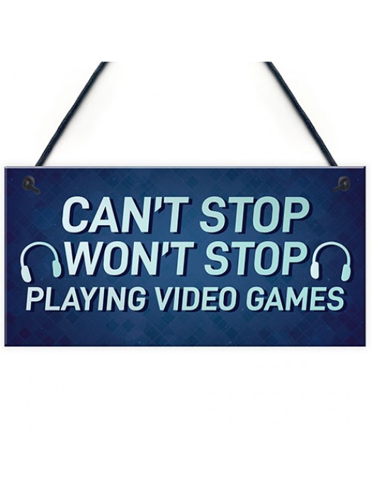 Funny Gaming Sign For Son Brother Dad Hanging Bedroom Sign