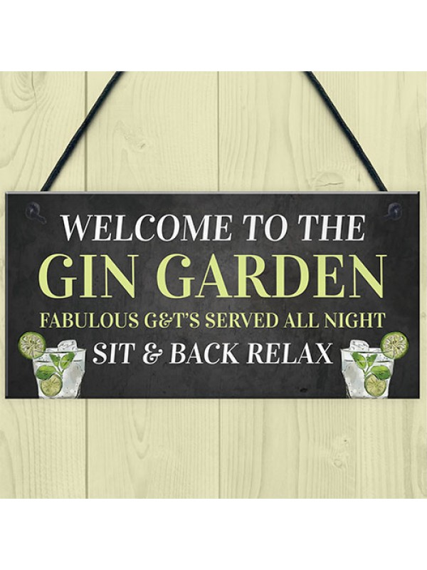 Welcome To The Gin Garden Hanging Home Bar Pub Sign Gift