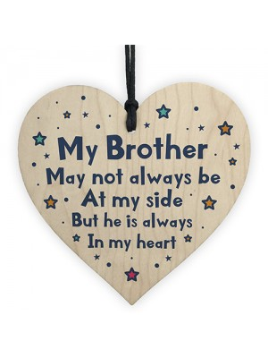 Special Gift For Brother Wood Heart Birthday Christmas Gift