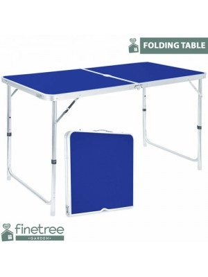 BLUE FOLDING CAMPING TABLE ALUMINIUM PICNIC PORTABLE ADJUSTABLE