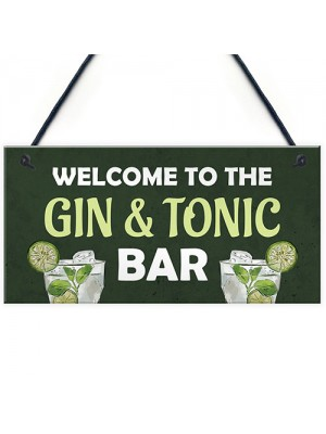 Gin And Tonic Bar Home Bar Man Cave Kitchen Sign Gift For Her