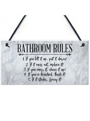 Bathroom Rules Sign Marble Theme Home Decor Home Gift