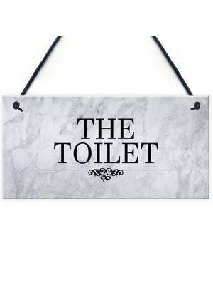 The Toilet Sign Marble Theme Hanging Bathroom Toilet Loo Sign