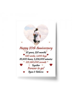 PERSONALISED 10th Anniversary Gift For Husband Wife A4 Print