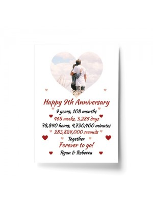 PERSONALISED 9th Anniversary Gift For Husband Wife A4 Print