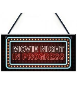 Novelty Cinema Room Sign NEON EFFECT Movie Night Plaque