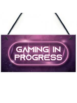 GAMING IN PROGRESS Pink Gaming Sign Neon Girls Bedroom Sign