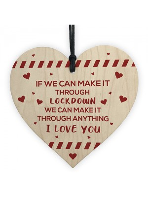 Funny Post Lockdown Anniversary Gifts Wooden Heart Gifts