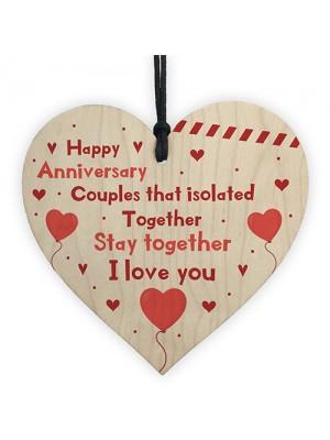 Post Lockdown Anniversary Gift Wood Heart Quarantine Funny Gift