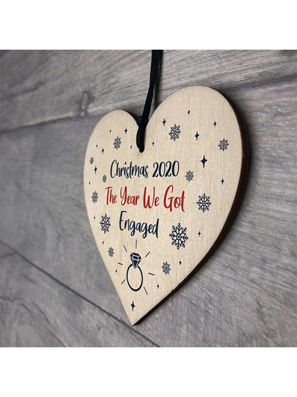 Personalised Christmas Decoration Engagement Gifts Wooden Heart