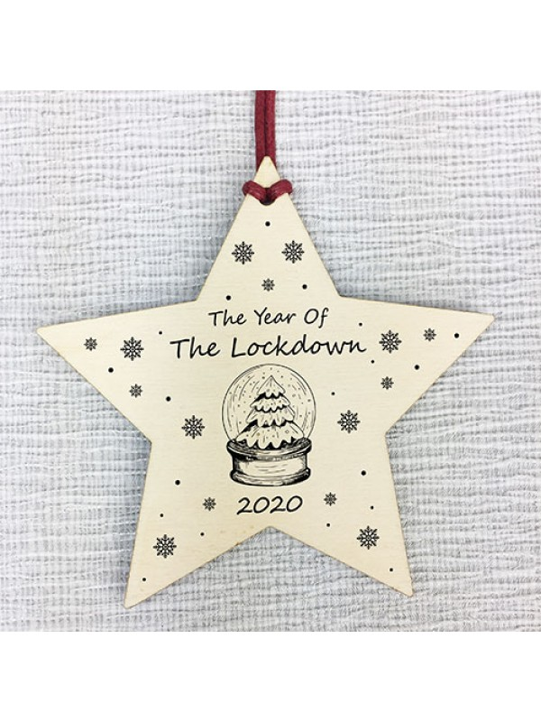 Christmas Wood Star The Year Of The Lockdown Tree Decoration