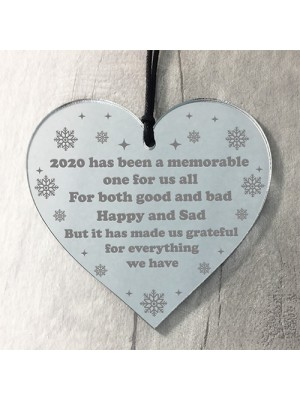 Lockdown Poem Gift Christmas Tree Decoration Engraved Heart