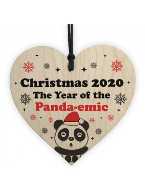 Funny Christmas Tree Decoration Wood Heart Bauble Quarantine