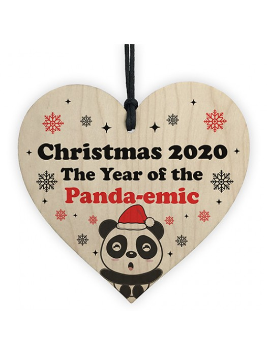 Funny Christmas Tree Decoration Wood Heart Bauble Quarantine