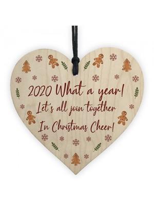 Lockdown Quarantine Memory Wood Heart Christmas Tree Decor