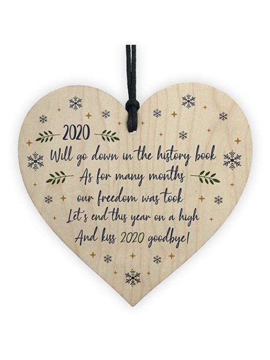 2020 Lockdown Poem Wooden Heart Christmas Tree Decoration