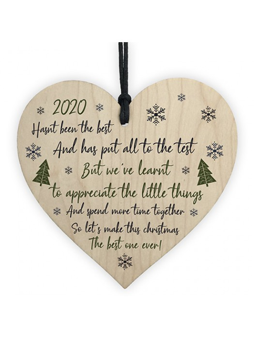 Lockdown Poem Wooden Heart Christmas Tree Decoration Bauble