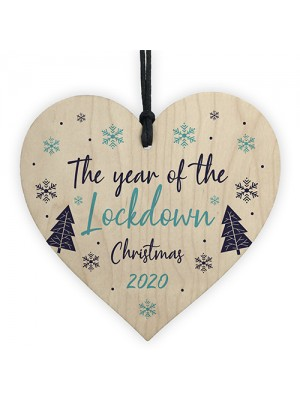 Lockdown Christmas Tree Decoration Wood Heart Memory Plaque