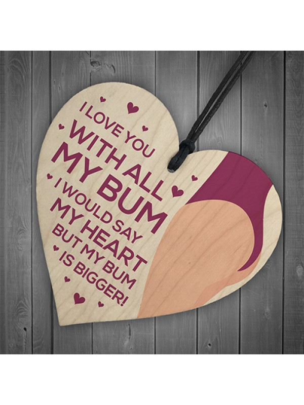 Love You Plaque Wood Heart Anniversary Christmas Gift