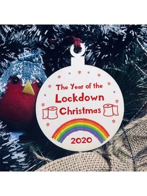 Lockdown Wood Bauble For Christmas Tree Rainbow Quarantine